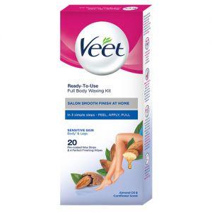 Veet Full Body Waxing Kit Gelwax Technology Sensitive Skin - 20 Strips