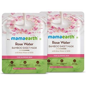 Mamaearth Rose Water Bamboo Sheet Mask with Rose Water & Milk for Glowing Skin - pack of 2