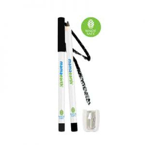 Mamaearth Charcoal Black Long Stay Kohl With Castor Oil and Chamomile For 11-Hour Smudge-free Stay with Free Sharpener