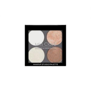 Miss Claire Bronze & Highlighter Makeup Studio Palette - 3