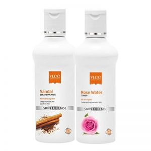VLCC Rose Water Toner & Sandal Cleansing Milk Combo