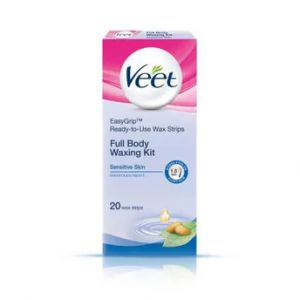Veet Full Body Waxing Kit Easy-Gelwax Technology Sensitive Skin - 20 Strips