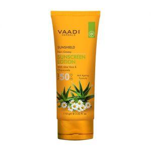 Vaadi Herbals Sunshield Non-Greasy Sunscreen Lotion With Aloe Vera & Chamomile Spf 50